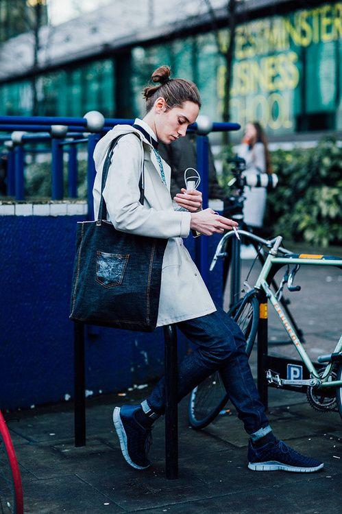 Street look à la Fashion Week homme automne,hiver 2016,2017 à Londres mannequin