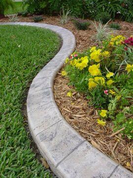 Stamped concrete garden edge
