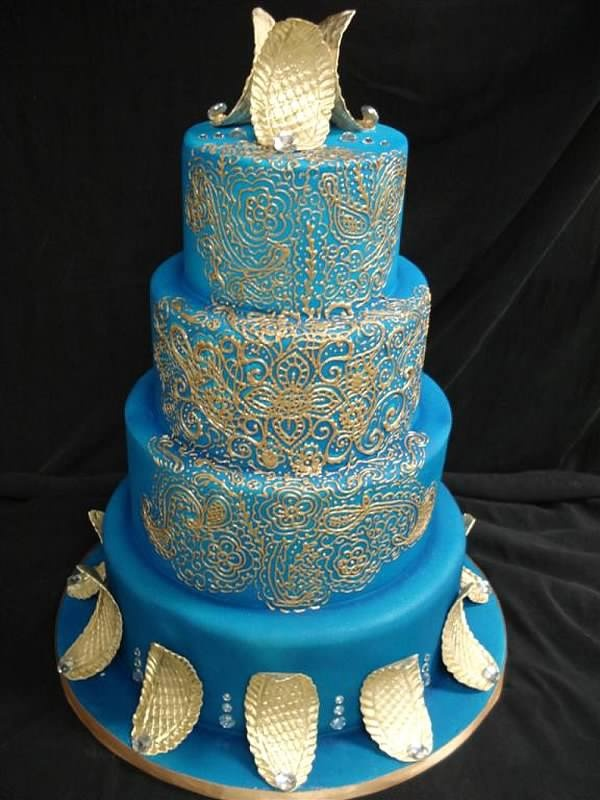 Mehndi Wedding Cake, unusual in blue with gold scalloped (leaves or feathers?) on Party Flavors Custom Cakes II, Weddings, cake 145
