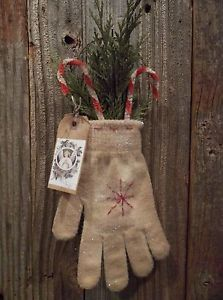 Pair of Primitive Mitten Ornaments with Cedar and Chenille Candy Canes