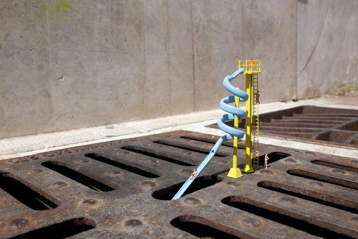 Slinkachu, 'Wet n Wild', Italy - unurth | street art