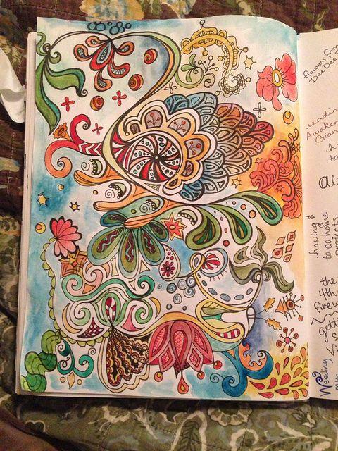 Watercolor + doodle