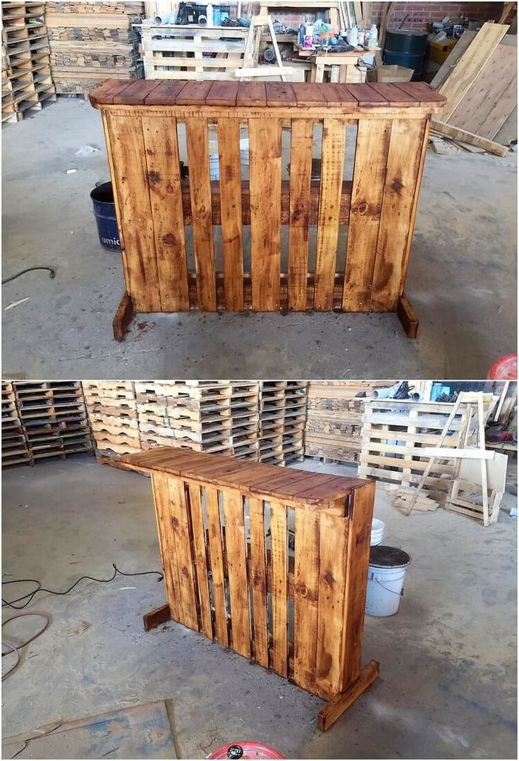 Installing a creative counter table of wood pallet in your house do stand out an excellent option because it do make you offer with so many useful purposes to try on. This is one such brilliant idea of wood pallet counter table for you! It is although designed in plain styling versions.