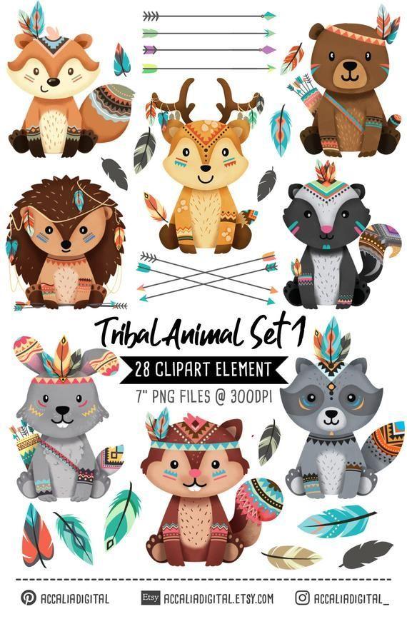 Tribal Animals Clipart Tribal Woodland Animals Clipart Set 1 Fox Woodland Animal Baby Nursery Decor Boho Clip Art Christmas Clipart Tribal Animals Animal Clipart Clip Art