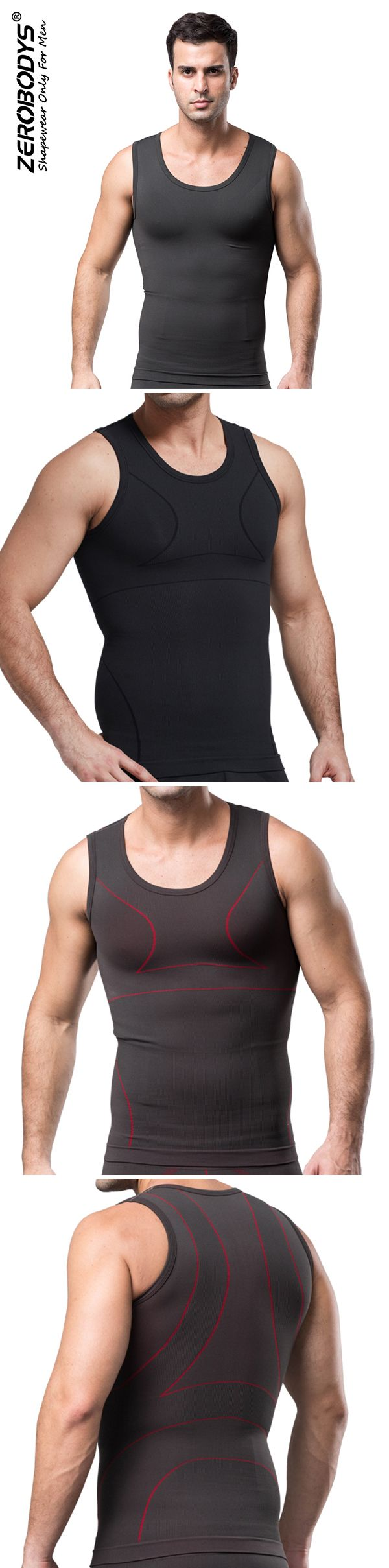 Gym Outfit: Mens Body Shaping Tank Tops: High Elastic / Fat Burning
