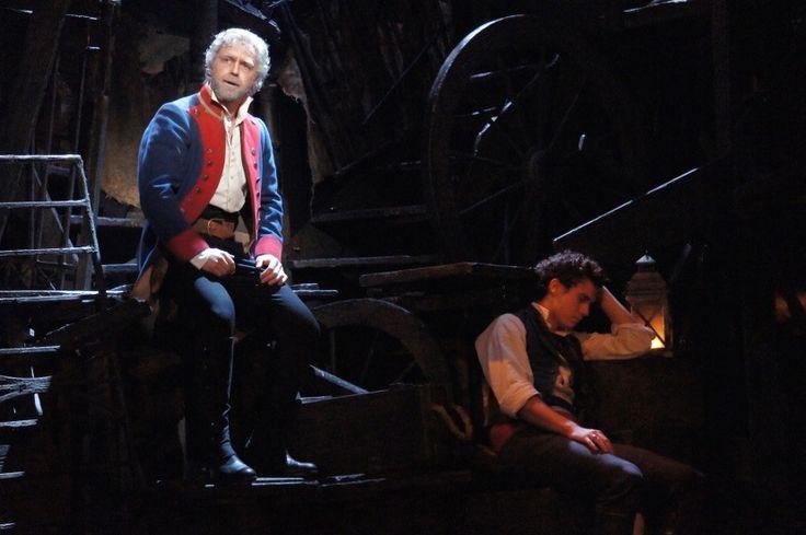 Valjean (Simon Gleeson) singing Bring a Him Home while Marius sleeps (Euan Doidge) Melbourne production.