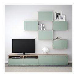 BESTÅ Agencement meuble télé - effet noyer teinté gris/Selsviken ultrabrillant/gris-vert clair, glissière tiroir, fermeture silence - IKEA