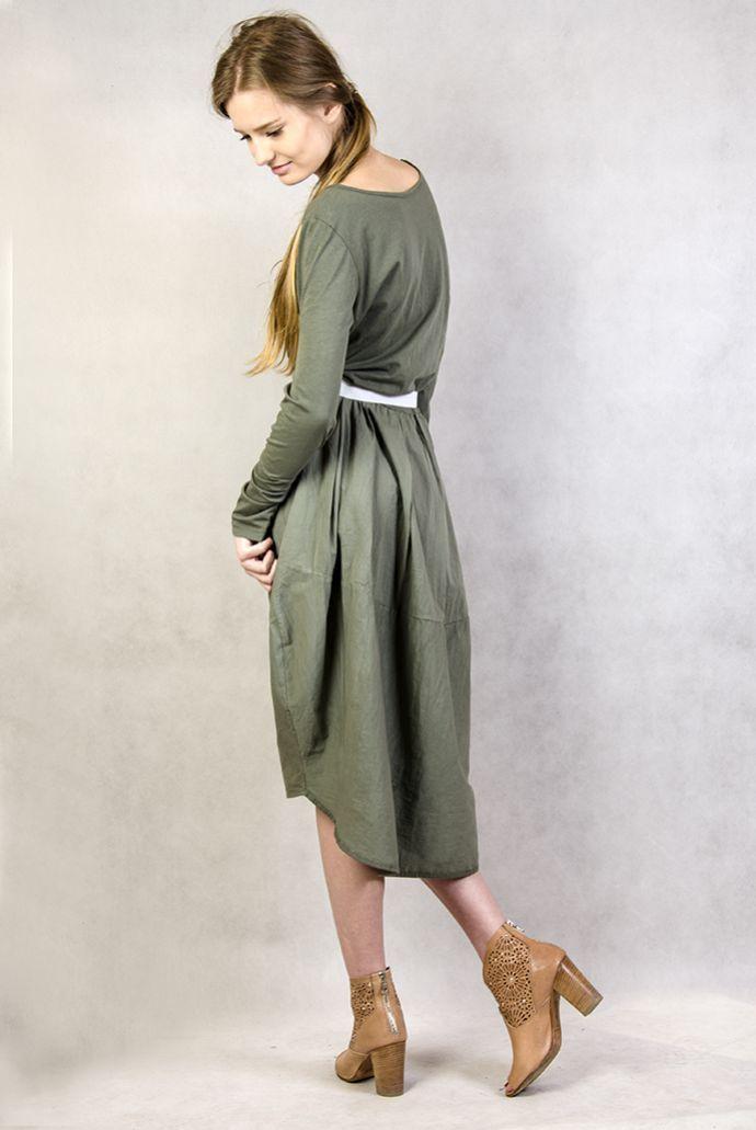 Długa asymetryczna zielona sukienka