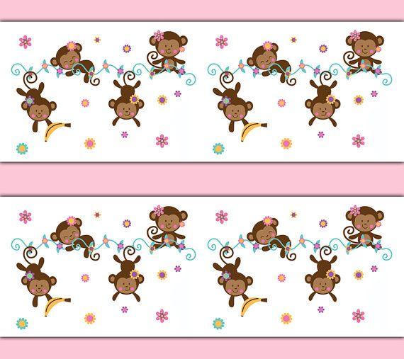 MONKEY DECAL STICKER Wallpaper Border Girl Safari Animal Nursery Baby Wall Art Decor Hanging Swinging Children's Jungle Bedroom Kids Room #decampstudios