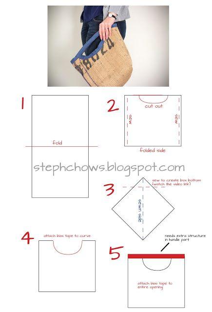 :: steph chows ::: Burlap Bag tutorial
