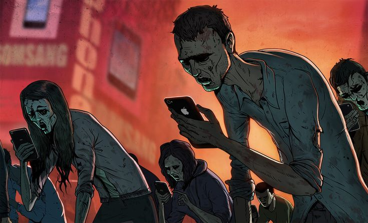 """Steve Cutts and Moby collaborate for a piece """"about our increasing dependence on technology and about human interaction today, or a certain lack of it."""""""