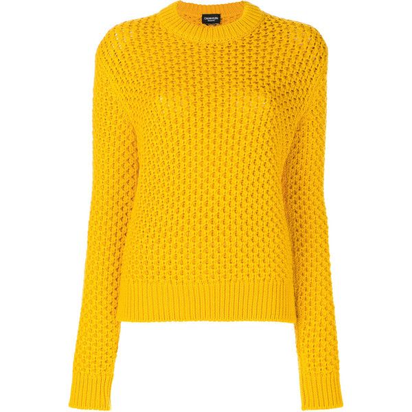 Calvin Klein round neck jumper (€620) ❤ liked on Polyvore featuring tops, sweaters, jumper top, calvin klein, round neck sweater, jumpers sweaters and yellow jumper