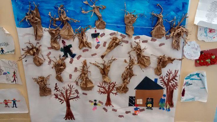 Murale préscolaire, érables, cabane à sucre. Classe de maternelle, 2014
