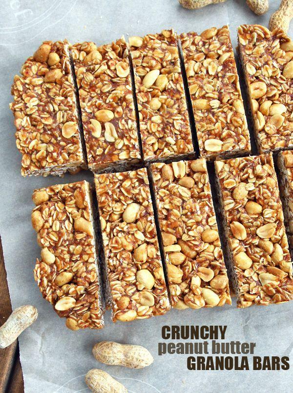 Crunchy Peanut Butter Granola Bars. GF