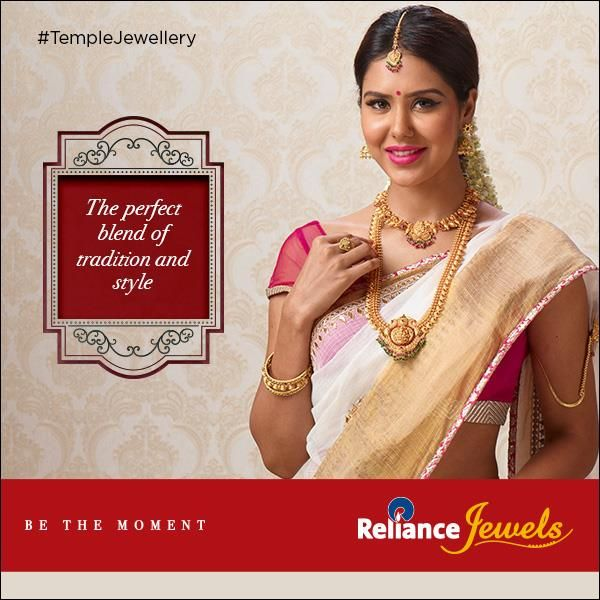 #TempleJewellery  The perfect blend of tradition and style.  Temple jewellery adorned the Indian idols in Temples, which had heavy use of gold metal and displayed patterns of idols, elephants and architectural designs. Carving handiwork on gold (nakkashi) is used in the creation of this jewellery.   www.reliancejewels.com  #reliance #reliancejewels #indianjewellery #beautiful #bridal #neverendingtrend #bethemoment #beyou