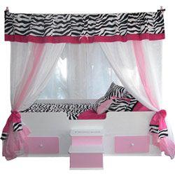 Cute zebra and pink theme girls room