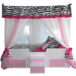 Something like this for Lindey: Idea, Beds Canopies, Pink Zebras, Toddlers Beds, Princesses Canopies, Zebras Prints, Canopies Beds, Girls Rooms, Kids Rooms