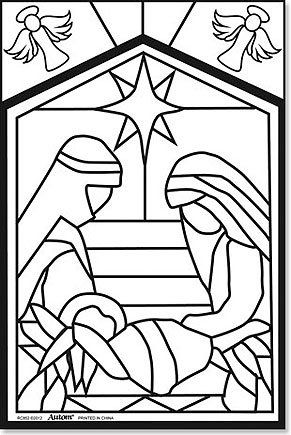 amazoncom arts craft nativity color your own stained glass fuzzy poster - Arts And Crafts Coloring Pages