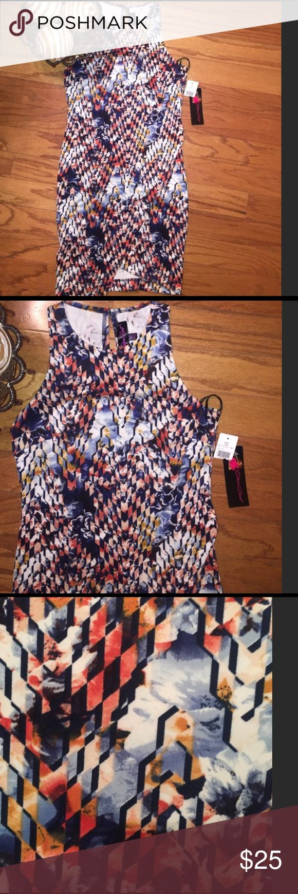 🖌NWT Glam Doll Bodycon Dress🖌 This is a printed Bodycon dress. Pulls overhead with one button in back at neck. Asymmetric, flattering with lots of give, however if your larger than a medium it will not fall right. Colors include Ivy, blue, coral according to tag. 95% polyester 5% spandex. 32 1/2 inches at shortest part and 34 1/2 inches at the longest part of the skirt. Pair with Jean blazer and some boots you ready for fall... Dresses Midi