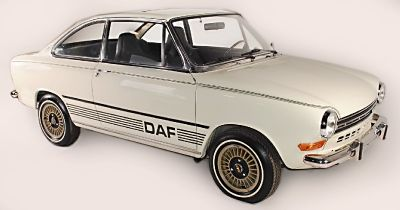 1970 DAF 55 - The DAF 55 is a small family car that was manufactured by the Dutch company DAF. The saloon was launched at the end of 1967, with the coupe version launched three months later, in March 1968, and the estate version six months after that in September 1968.     The cars featured the unique Variomatic belt-driven continuously variable transmission.     Power came from a Renault 1108 cc water-cooled engine based on the unit which at the time already powered the Renault 10.