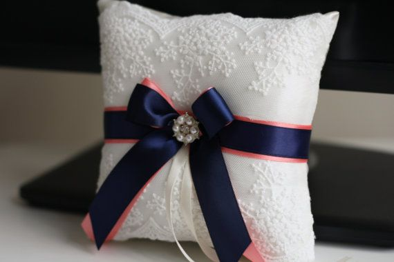 Ring Bearer Pillow Navy Blue and Coral \ Navy Coral Ring Pillow + Flower Girl Basket \ Lace Ivory Wedding Ring Holder and Wedding Basket