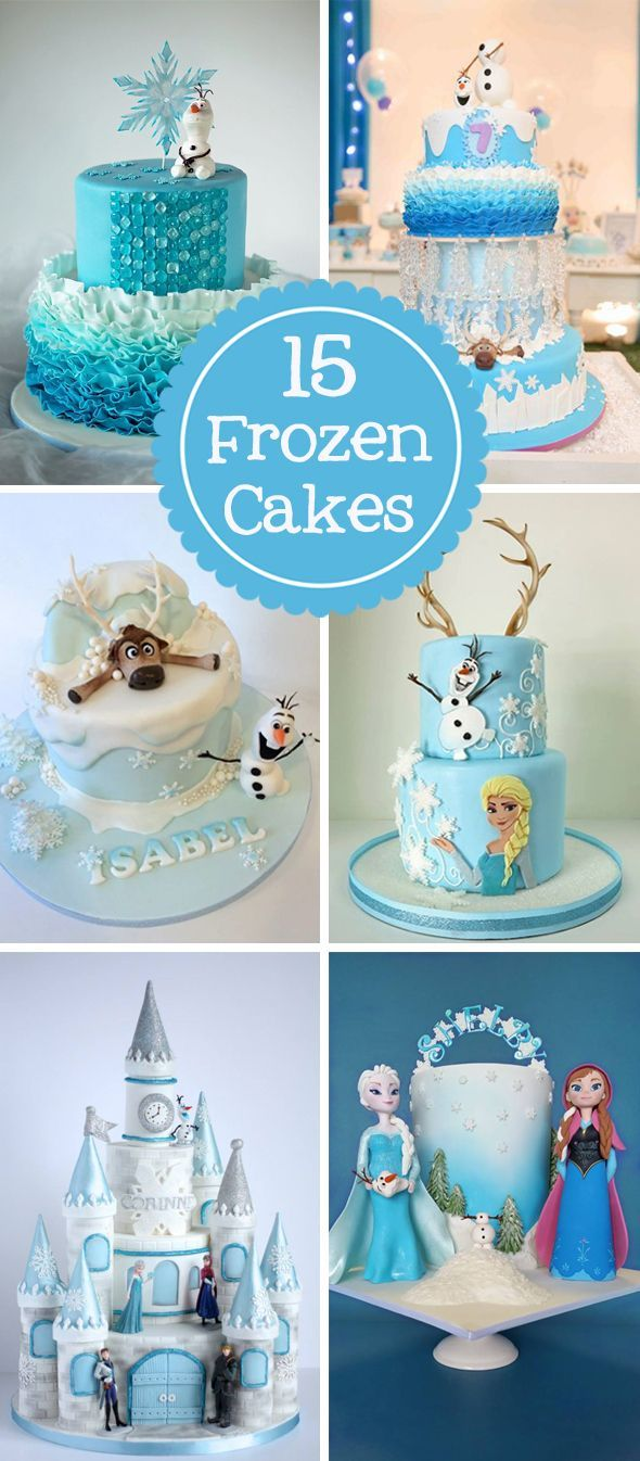 15 AMAZING Frozen Inspired Cakes your kids will go crazy over on http://www.prettymyparty.com.
