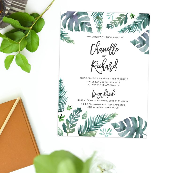 These Tropical Wedding Invitations feature a tropical leaf design with watercolour painted ferns and monstera leaves in pretty green and turquoise hues.