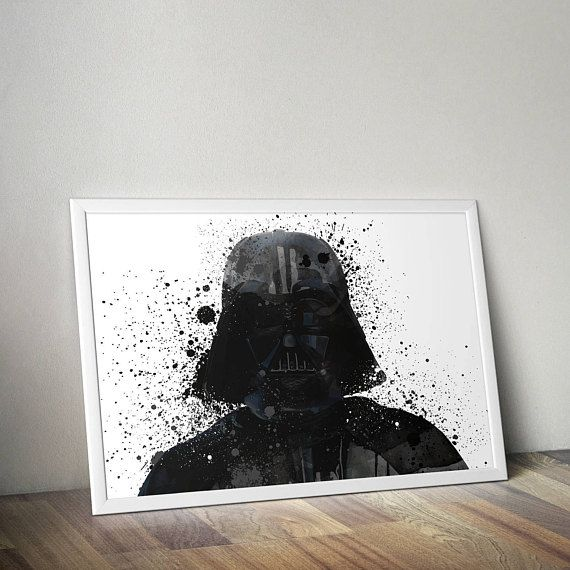 Star Wars Inspired Poster Print - Darth Vader | Watercolour | A2 Size-Resizable | Printable | Digital Download | Minimalist