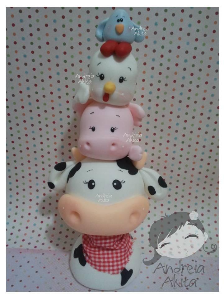 vaca cerdo gallina pollito porcelana fria fimo My Mini Farm - 25 cm de altura