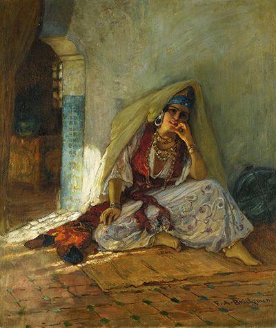 Peinture Algérie - Frederick Arthur Bridgman - (American, 1847–1928) Pensive Moments Oil on canvas, 22 x 18 1/2 i