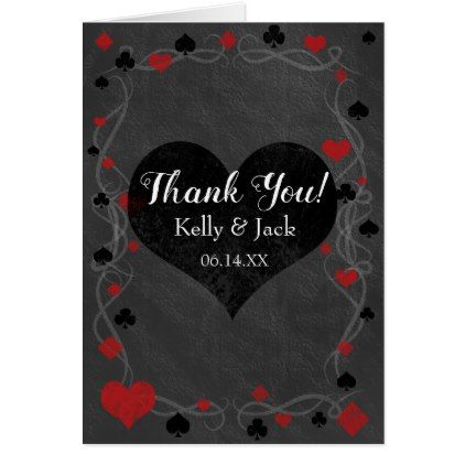 Stylish casino wedding thank you card - red gifts color style cyo diy personalize unique