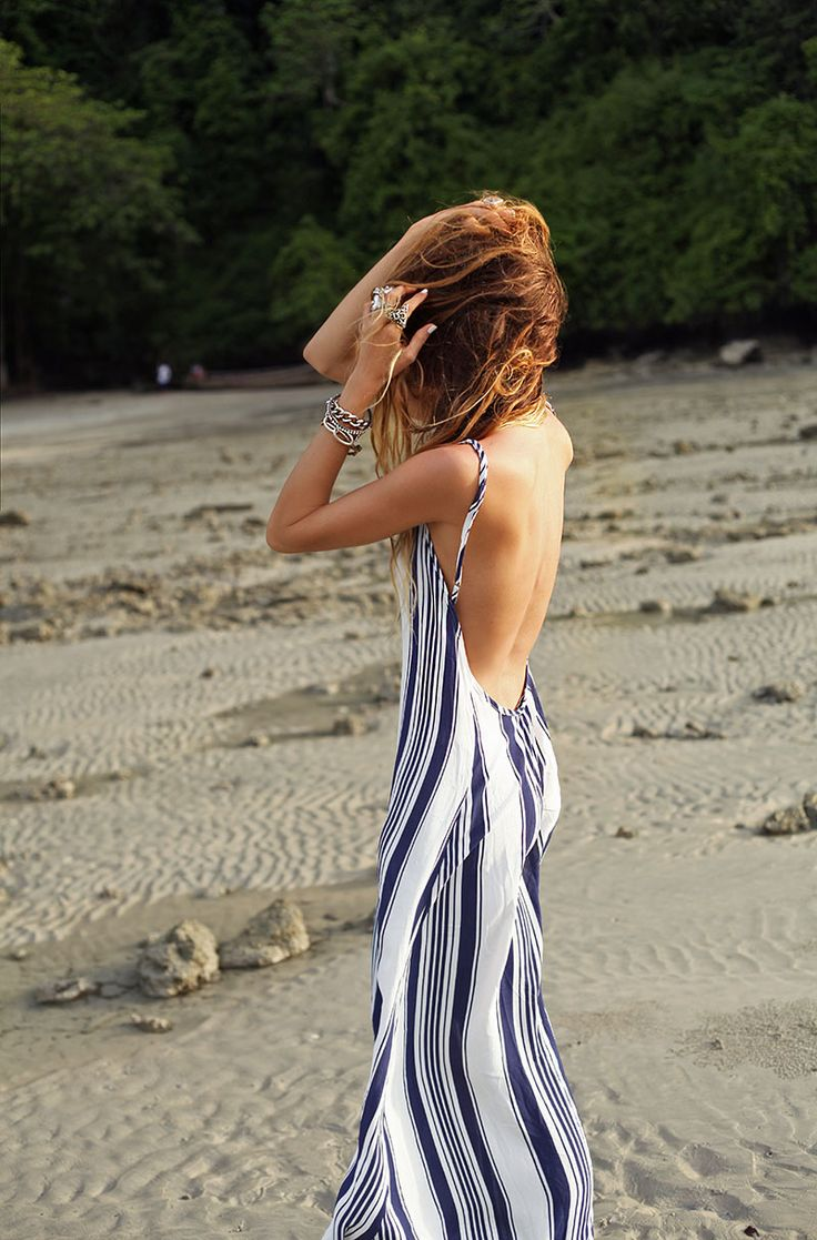 Sexy striped backless maxi dress paired with stacked boho sterling. Gorgeous summer outfit.