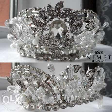 Свадебная тиара, диадема, корона и серьги ручной работы Алматы - изображение 2