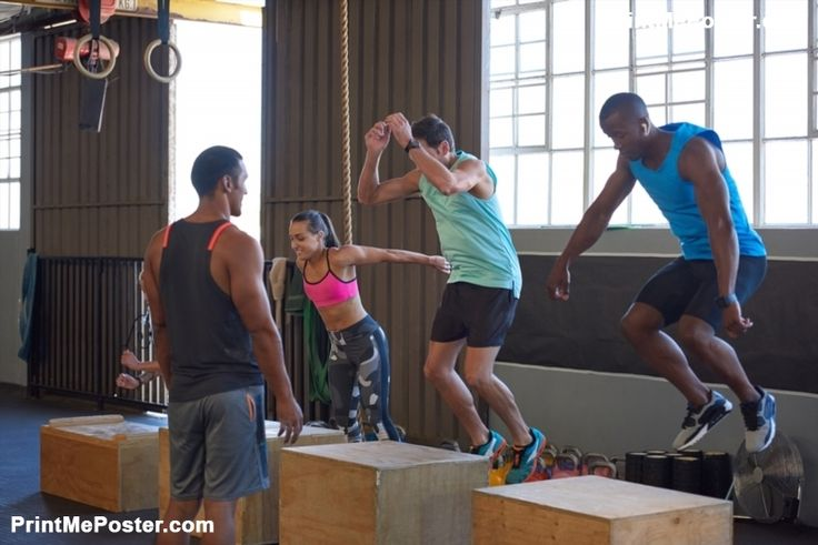 Poster of Crossfit class jumping on wooden boxes guided by trainer, strength training fitness workout in gym #poster, #printmeposter, #mousepad, #tshirt