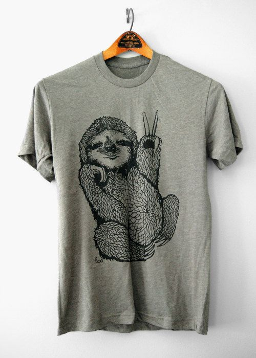 Peace Out Sloth - 5% Donated to Wildlife Conservation Network mens 50/50 Funny Sloth t-shirt - by Simka Sol on Etsy, $28.00