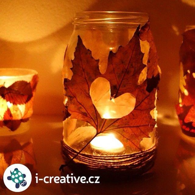 Posbírejte si na cestě z práce nebo ze školy listy a vyrobte si podle nového návodu #podzimní #lucerničky , které vám zpříjemní stále se zkracující dny | icreativecz