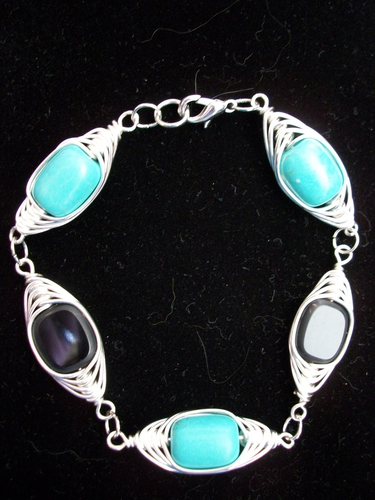 Bracelet - Wire wrapped black and turquoise silver  - $20