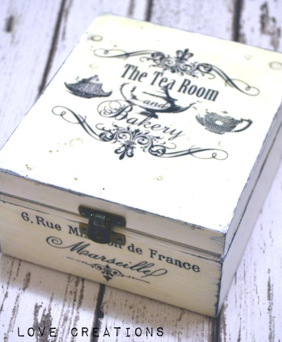black and white Wooden Decoupage Tea Box/ by iLoveCreations