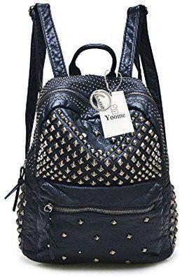 52eef728a7 Yoome Zaino con borsa a tracolla nera scolpita con borchie in pelle lavata  con borchie: