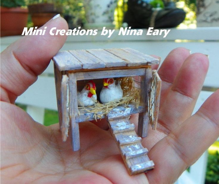 This is the little chicken coop which will be added to a new mini cottage I am working on, complete with polymer clay hens & chicken poop! LOL! ~Created by Nina Eary~