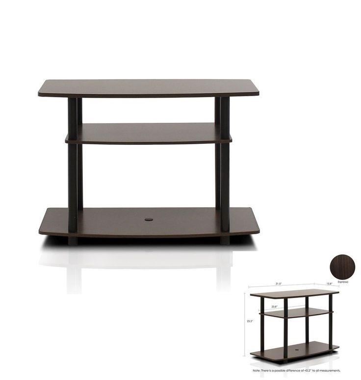 Espresso TV stand media entertainment center 3-tier storage cabinet furniture #PerfectAllinaceLad #Contemporary