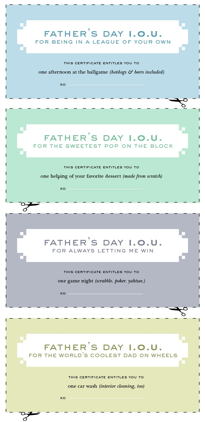 printable father s day i o u s from kate spade gifts any dad would