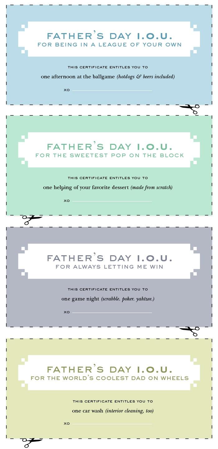 Dad coupon template