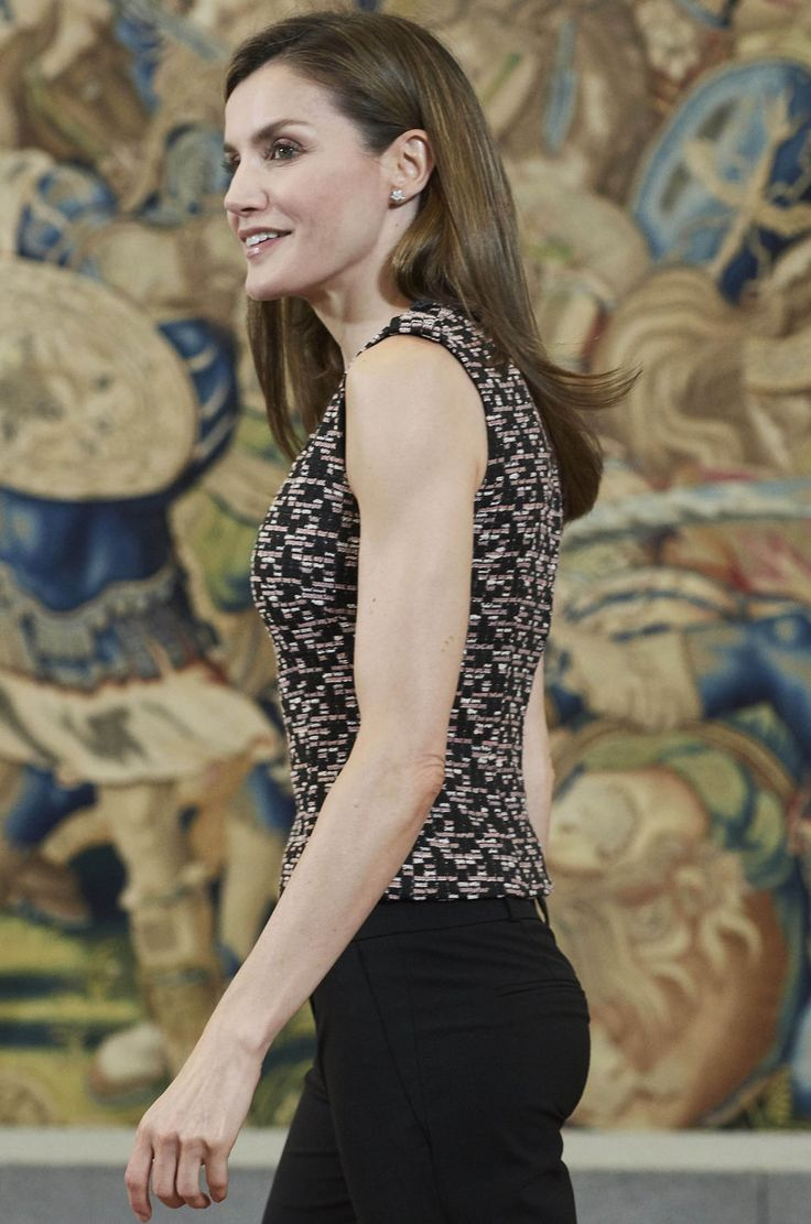 Queen Letizia of Spain attends an audience with 'Remudas Isla Gran Canaria' women handball team at Zarzuela Palace on June 8, 2017 in Madrid, Spain.