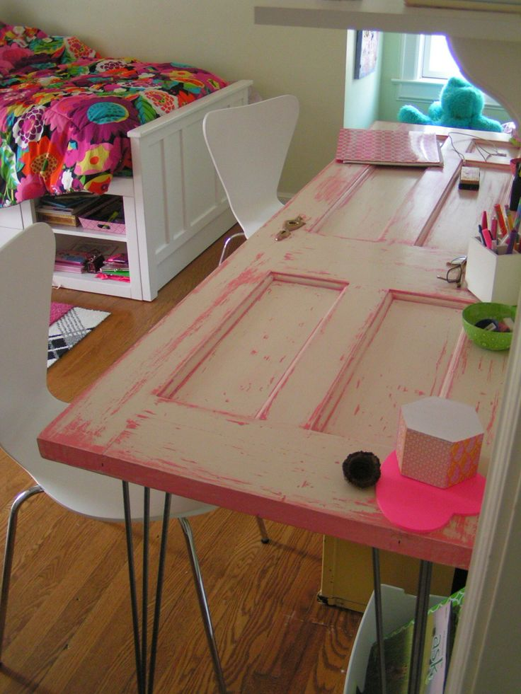Shabby Chic Desk made from old door and 'pink antiqued' for my girls room. LOVE the hairpin legs I ordered from Ohio.