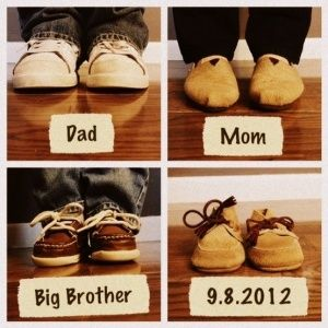 "Pregnancy announcement / Baby announcement. Instead of ""Big Brother"" shoes, use Clifford"