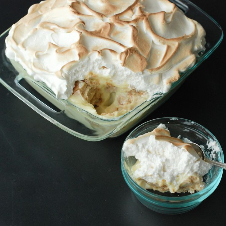Straight from Birmingham, Alabama, this classic banana pudding is made with Nilla Wafers, custard, sliced bananas and a fluffy, golden meringue topping.
