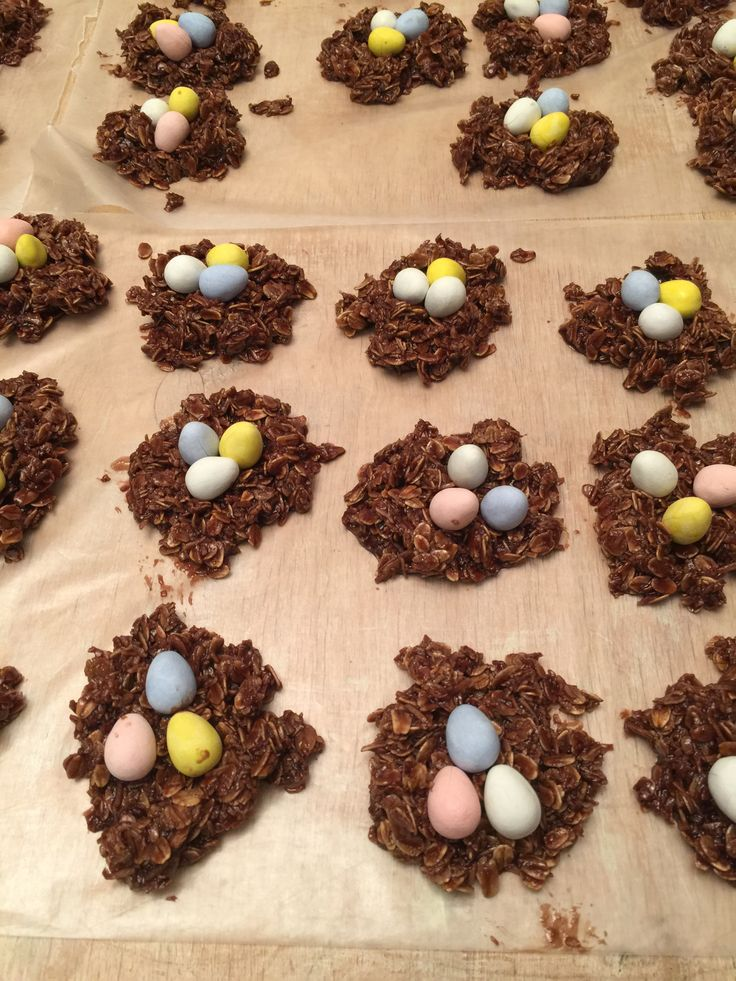 Un-cooked oatmeal cookies with mini eggs!