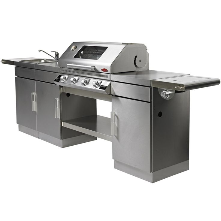 This is the ultimate gas BBQ kitchen. With stainless steel roasting hood and full cabinets, this is a very sleek looking unit. LPG/Propane ready or you can even plumb it in to run off mains gas. With high power cast iron burners and stainless steel vaporizers to reduce those nasty flare-ups, you can be certain you are cooking on a top quality Beefeater BBQ.