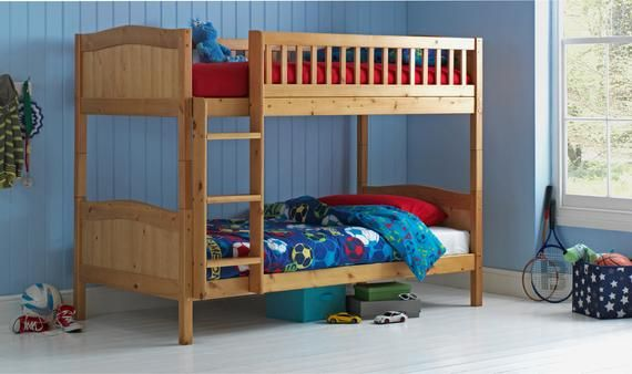 3ft Single Wooden Bunk Bed Kids Childrens Grey White Caramel In